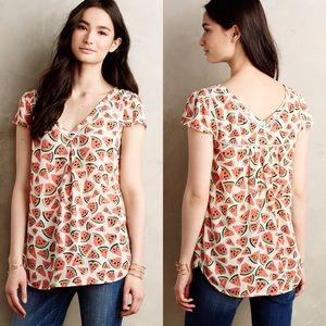 Anthropologie Maeve Watermelon Blouse